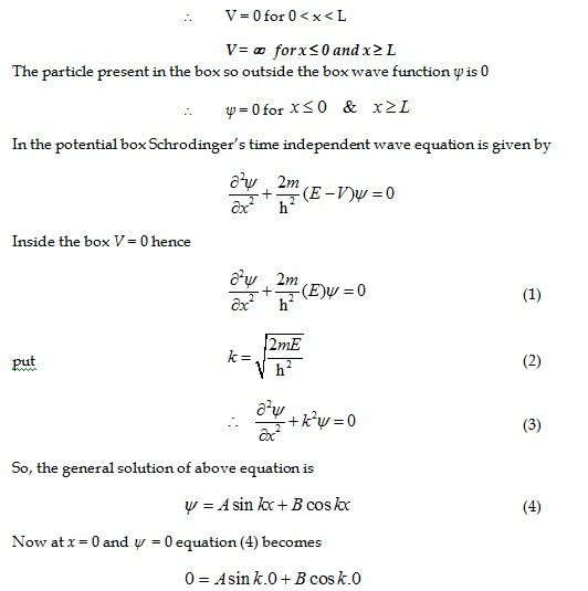 Application of time independent Schrodinger wave equation