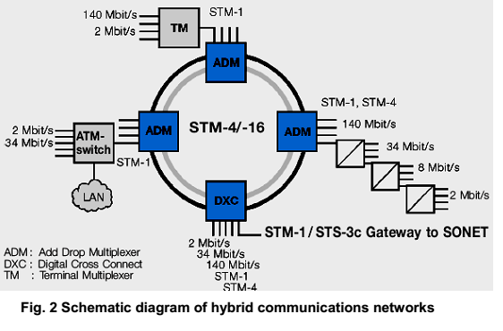 Schematic diagram of hybrid communications networks